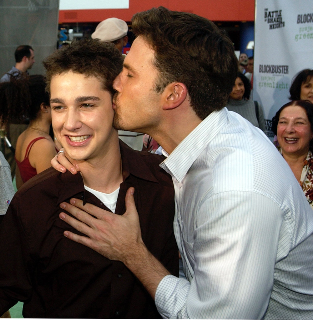 Ben Affleck planted a kiss on a young Shia LaBeouf in August 2003 at The Battle of Shaker Heights LA premiere.