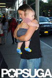 Jennifer Garber and baby Samuel arrived at a hotel in the Big Apple.