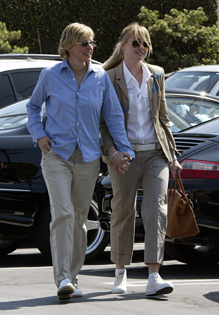 Portia de Rossi and Ellen DeGeneres held hands in LA in April 2005.