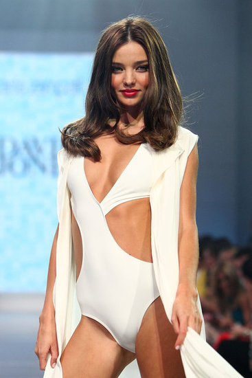 Miranda Kerr modeled a cutout swimsuit at the David Jones Season Launch.