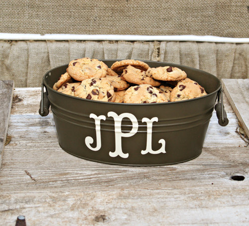 Versatile, useful, and adorable, this Monogrammed Bucket ($11) is perfect for just about anything. Use it to serve cookies, chill beverages, or display party favors; whichever way you choose, it's sure to look fabulous.