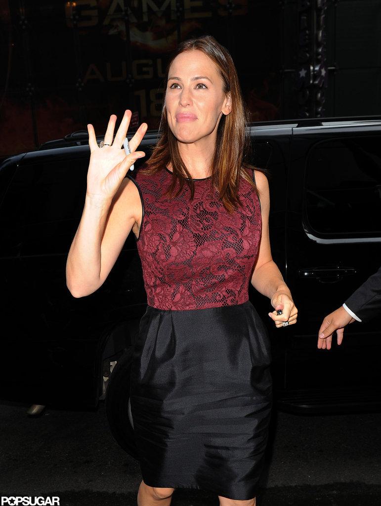 Jennifer Garner waved as she arrived at Good Morning America.