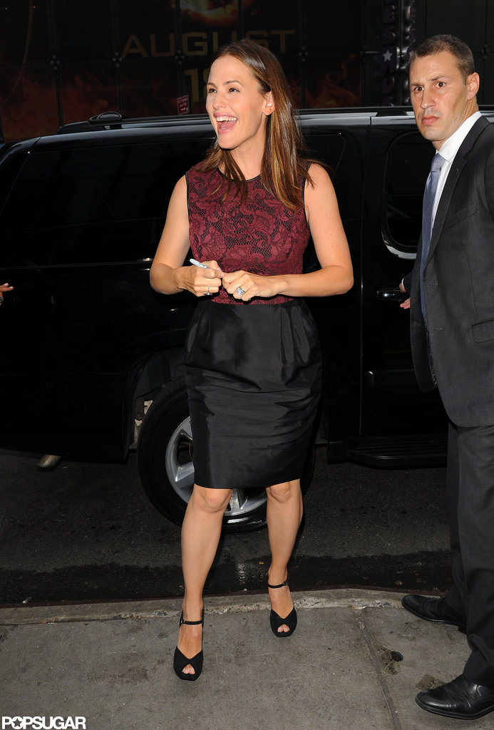 Jennifer Garner laughed when arriving at Good Morning America.