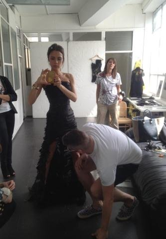 Victoria Beckham shared photos while getting fitted for her London Olympics closing ceremony look. Source: Twitter user victoriabeckham
