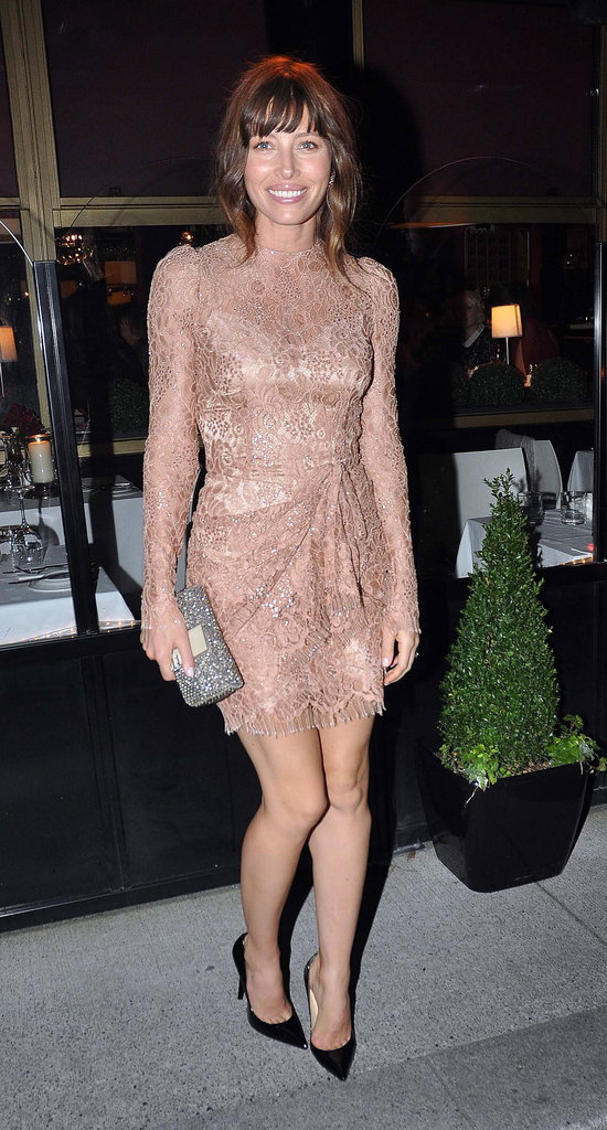 Jessica switched it up — textural interest intact — for the Dublin afterparty, wearing a sweet nude-toned lace confection by Dolce & Gabbana. Although, she did keep her embellished Fendi clutch on hand for the evening festivities.