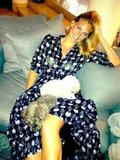 Bar Refaeli chilled with her dogs. Source: Twitter user Bar Refaeli