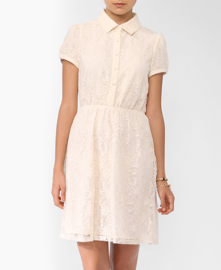 We love how this dainty dress looks when it's all buttoned up. Forever 21 Lace Shirtdress ($28)
