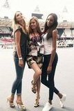 Jourdan Dunn rehearsed for the London Olympics closing ceremony with fellow models Lily Donaldson and Georgia May Jagger. Source: Twitter user missjourdandunn