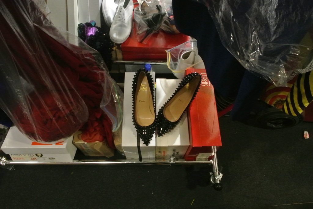 Christian Louboutins backstage, ready for some model feet!