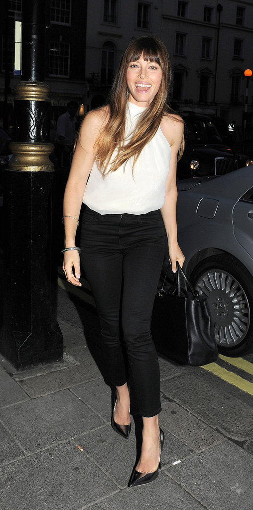 Jessica Biel headed into a private screening of Total Recall in London.