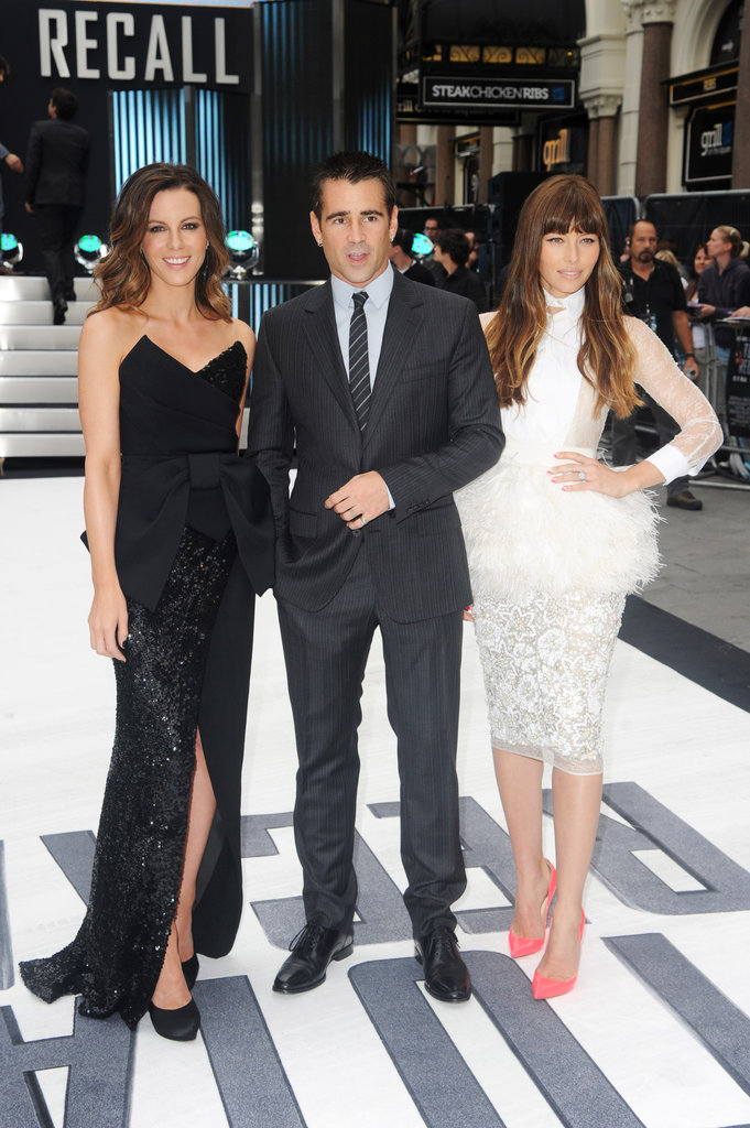 Costars Kate Beckinsale, Colin Farrell and Jessica Biel posed at the UK premiere of Total Recall.