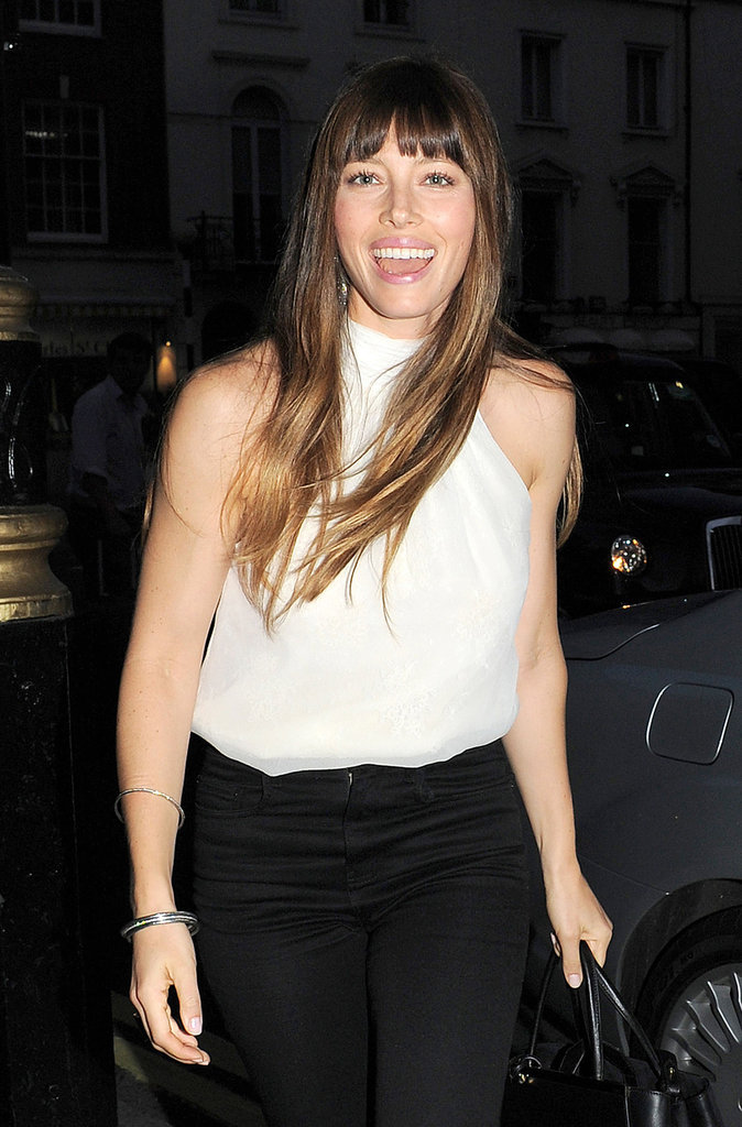 Jessica Biel laughed at a private screening of Total Recall in London.