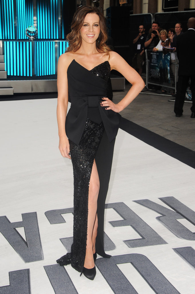 Kate Beckinsale arrived at the Total Recall UK premiere in a black dress.