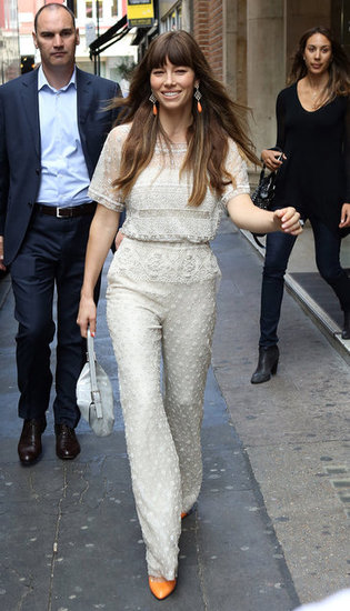 Jessica Biel looked fashionable in an ivory jumpsuit in London.