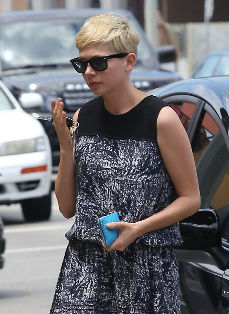 Michelle Williams wore a black-and-gray dress in Beverly Hills.