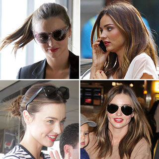 Photos of Miranda Kerr and Her Perfect Red Orange Lipstick Look