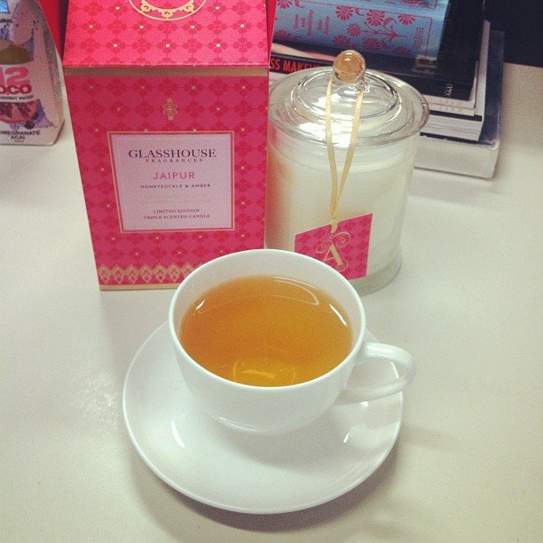 We're easily pleased here in the Sugar office. Give us herbal tea and a delish new Glasshouse candle (limited edition Jaipur scent) and we're one extremely happy team.