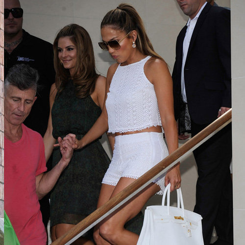Jennifer Lopez Wearing White Crop Top and Shorts