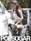 Kristen Stewart wore a backpack.