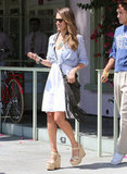 Jessica Alba paired platform wedges with her white dress.
