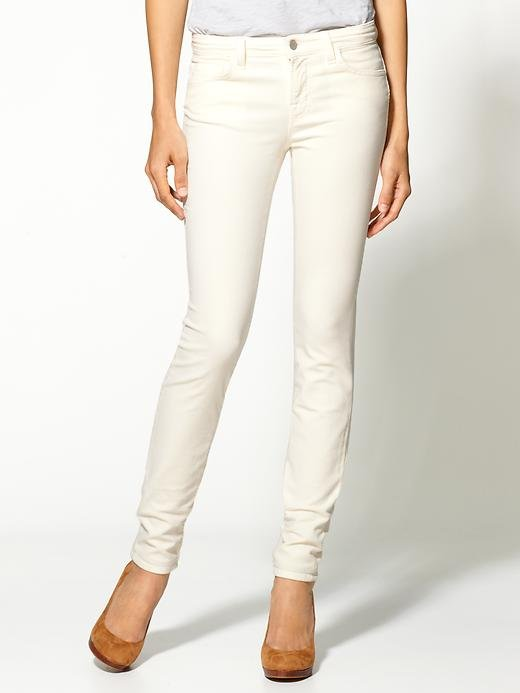 White cords will look ultrachic with a creamy cashmere sweater and buttery leather boots.  J Brand Mid Rise Skinny Cords ($176)