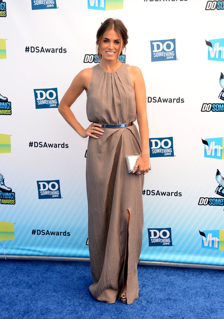 Nikki Reed chose a taupe-hued Lela Rose gown, complete with knee-high slit, for her walk down the blue carpet. She paired her ensemble with Jimmy Choo sandals, the footwear designer favorite of the evening.