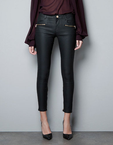 COATED TROUSERS WITH ZIPS - Trousers - Woman - ZARA United States