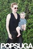 January Jones carried Xander while walking in LA.