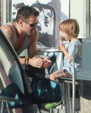 Colin Farrell and his toddler son, Henry Farrell, stopped at Baskin-Robbins.