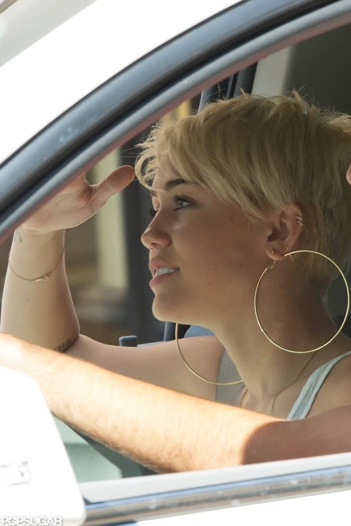 Miley Cyrus sported big hoop earrings in Philadelphia.