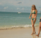 Blake Lively hit the beach in the Caribbean wearing a tiny green bikini in October 2007.