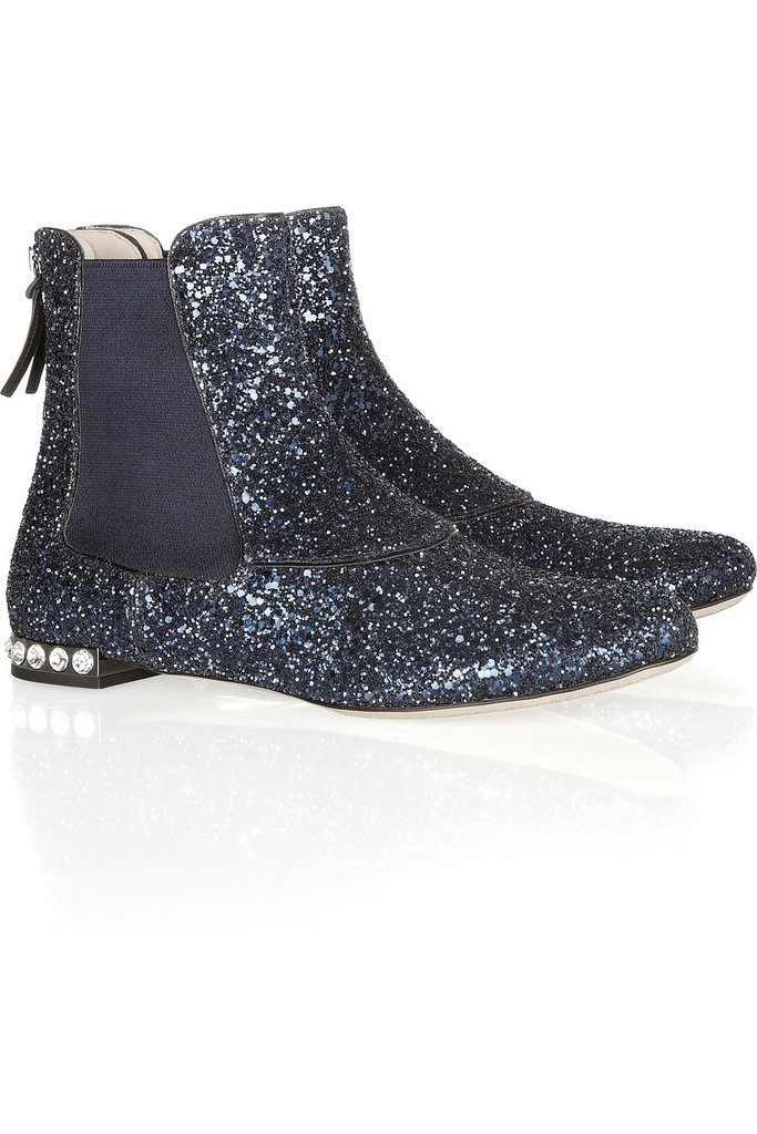 These glitter-adorned boots were made for the ultimate tastemaker – are you that girl?  Miu Miu Glitter Ankle Boots ($750)