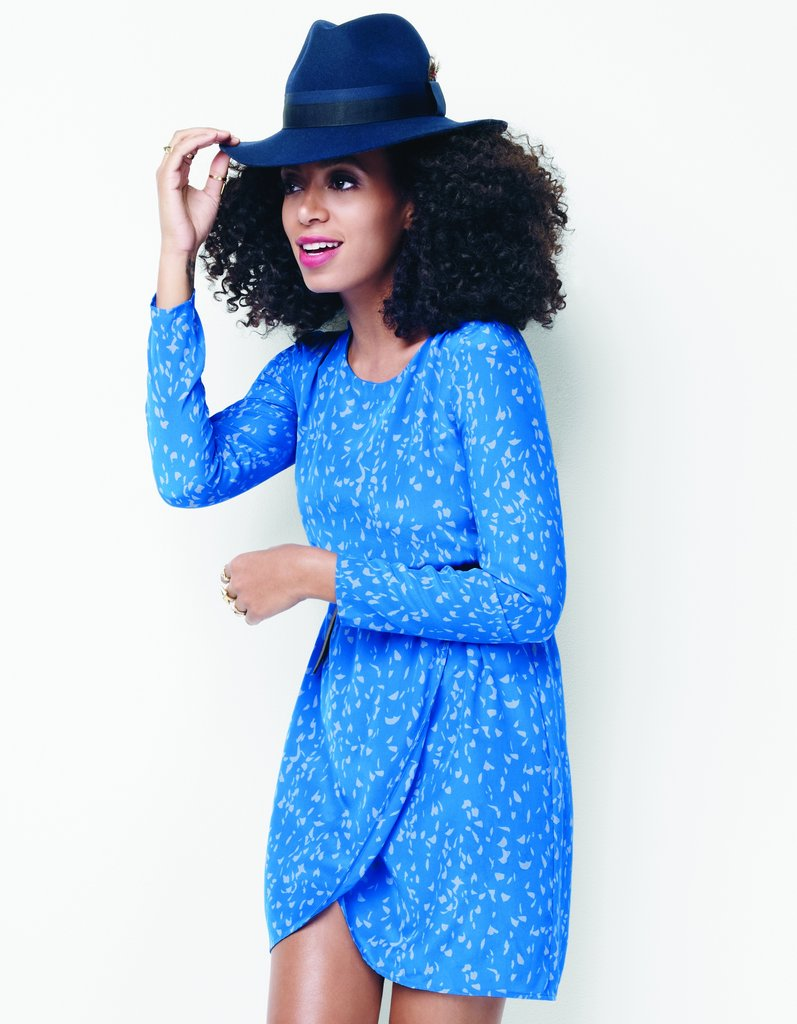 The easiest wrap dress topped with a cool wool hat; just finish off with ankle boots for a sweet Fall look.