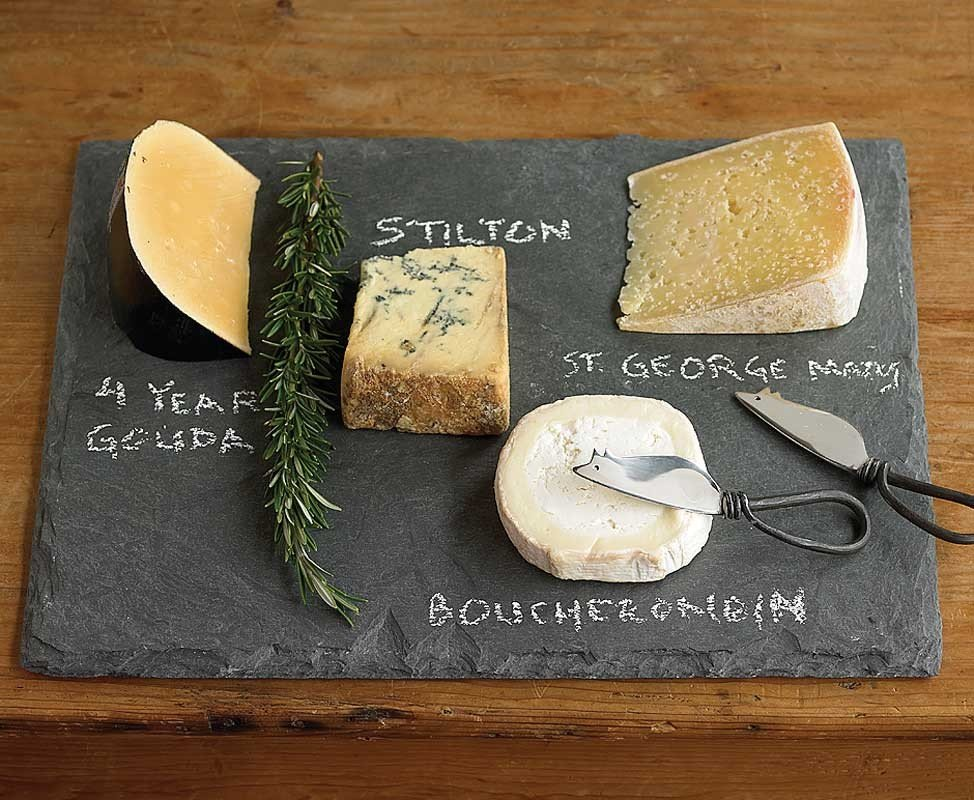 Use a Slate Cheese Board ($69) at your next dinner party to  cleverly display cheeses and their names using chalk.
