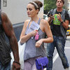 Leighton Meester Carrying Purple Chain Bag