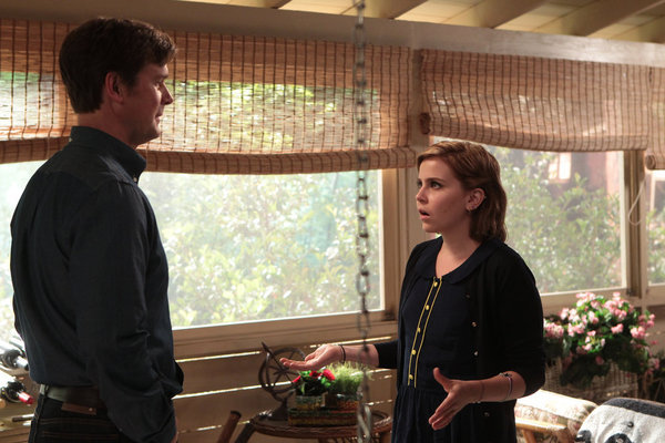 Amber (Mae Whitman) has a chat with her uncle Adam (Peter Krause).