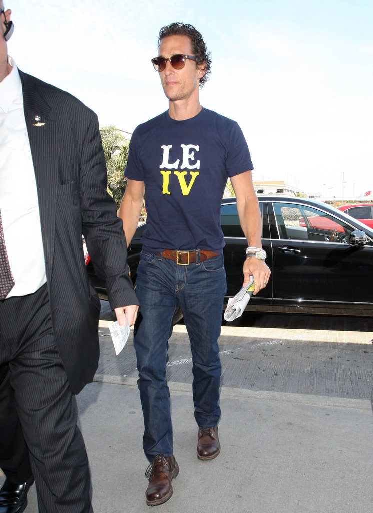 Matthew McConaughey Shows Off His Thin Frame For a Flight