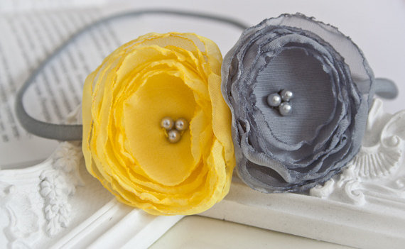 Yellow and Grey Chiffon Lollipop Flower Headband ($15)