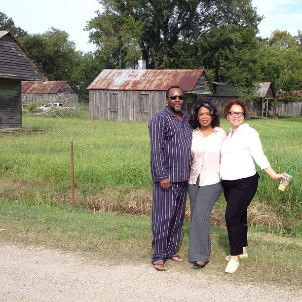 Director Lee Daniels and Oprah Winfrey took a picture on the set of The Butler with their costume designer. Source: Instagram user oprahwinfrey