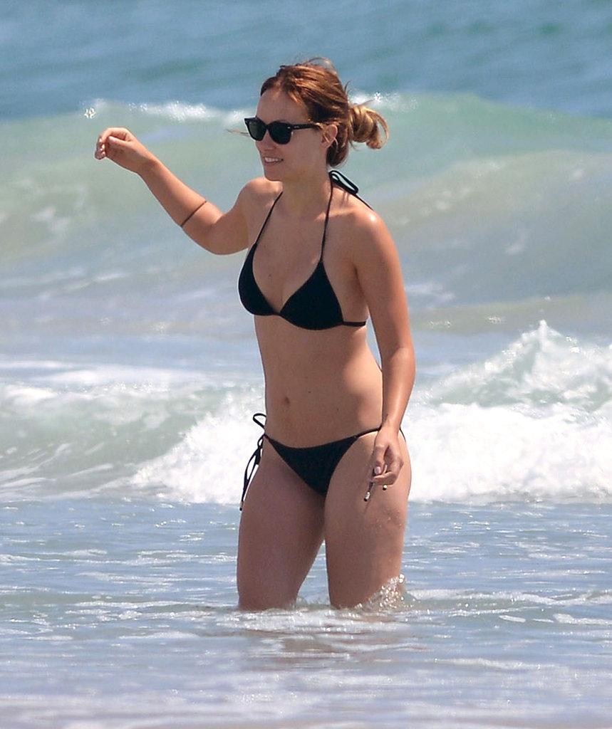 Olivia Wilde wore black sunglasses and a matching bikini.