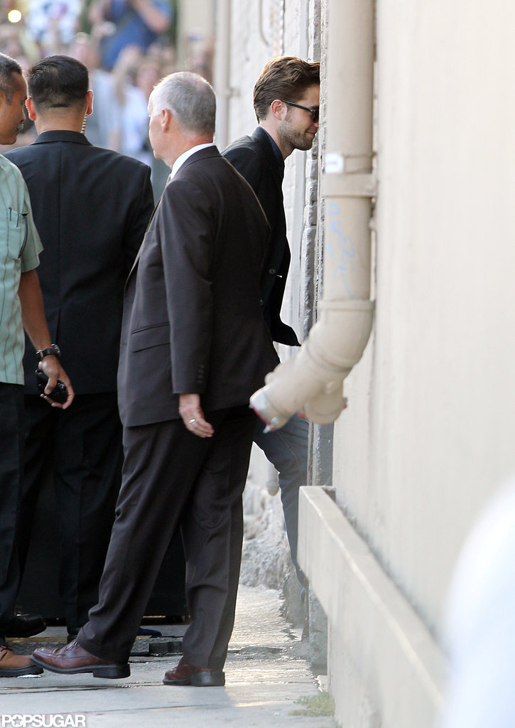 Robert Pattinson headed into the Jimmy Kimmel Show's studio in LA.
