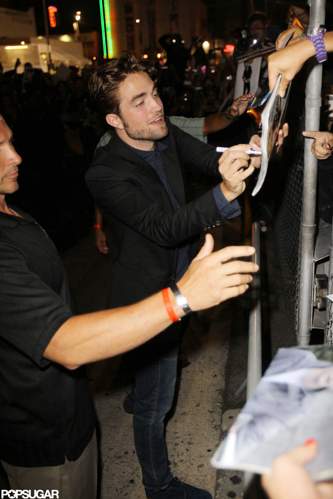 Robert Pattinson signed autographs outside the Jimmy Kimmel Show  in LA.