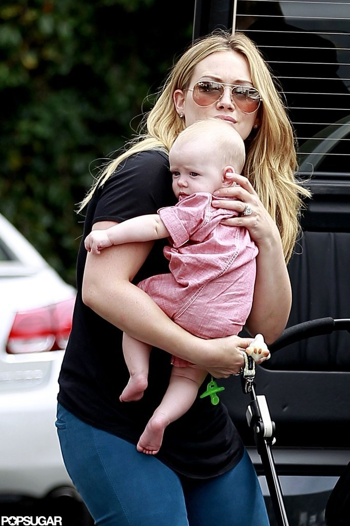 Hilary Duff held baby Luca Comrie close.