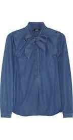 A.P.C.Pussy-bow denim blouse