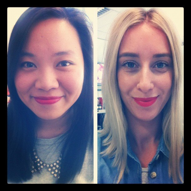 Friday calls for red lips, don't you think? Jess went for a deep cherry red, while Alison opted for a poppy orange-red colour.