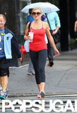 Cameron Diaz crossed a street in NYC before hitting the gym.