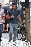 Leonardo DiCaprio headed to work on The Wolf of Wall Street.