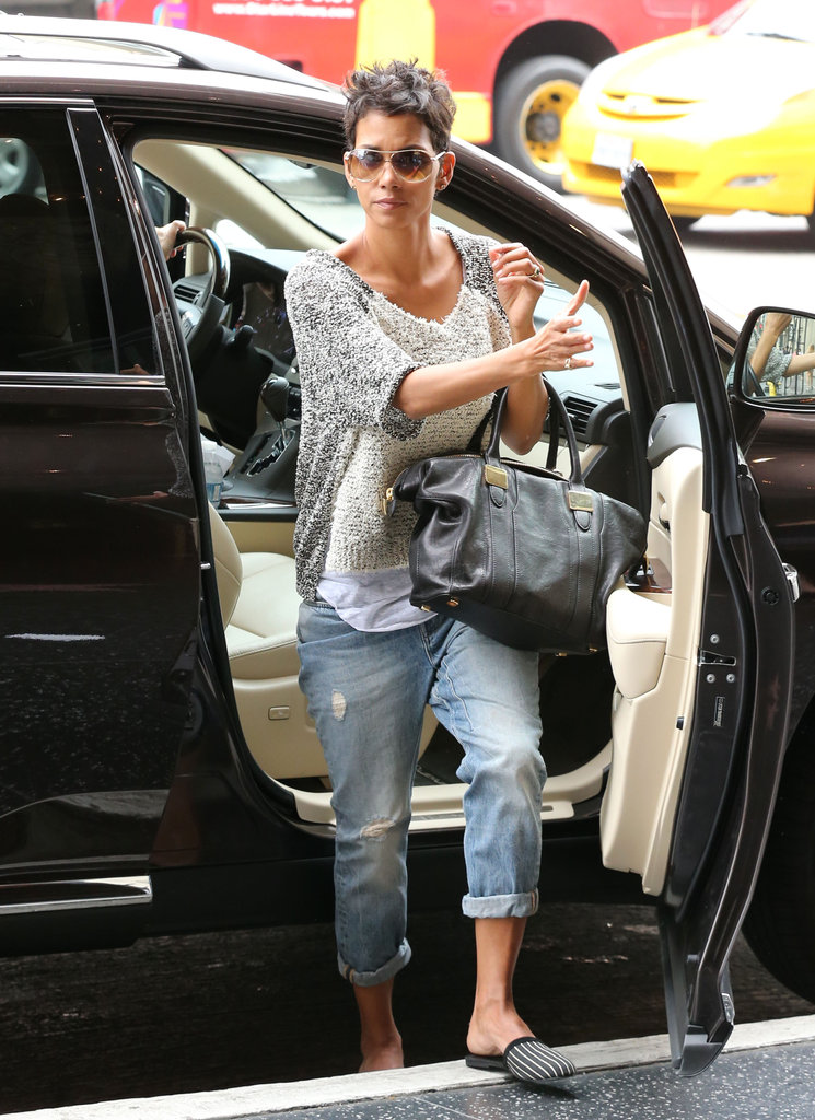 Halle Berry stepped out of a car in Hollywood wearing cropped jeans and flats.