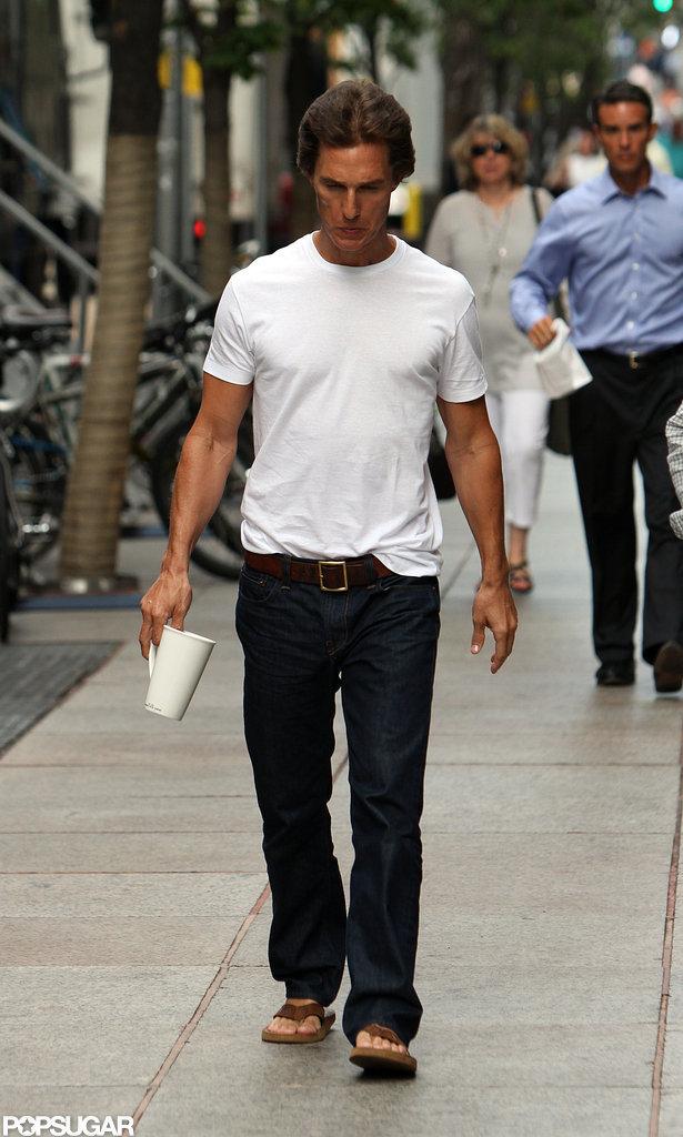 Matthew McConaughey walked to work.
