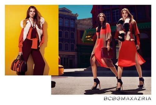 Colorblocked dresses and fierce ankle-strap heels take the stage at BCBG Max Azria.
